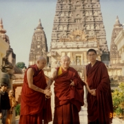 H.E. Tsem Tulku Rinpoche with his gurus H.E. Kensur Jampa Yeshe Rinpoche (left) and Kyabje Denma Locho Rinpoche (center) in Bodhgaya