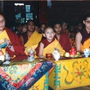 H.E. Tsem Tulku Rinpoche doing puja together with the 101st Gaden Tripa Jetsun Lungrik Namgyal Rinpoche and H.H. Zong Rinpoche in Gaden Monastery