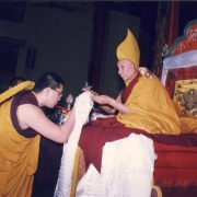 H.E. Tsem Tulku Rinpoche making offering to his guru Kensur Jampa Yeshe Rinpoche during long life puja