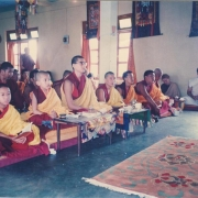 H.E. Tsem Tulku Rinpoche and H.H. Zong Rinpoche doing puja together in Gaden Pukhang Khangtsen