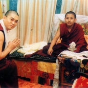 H.E. Tsem Tulku Rinpoche meeting the present incarnation of H.H. Zong Rinpoche in Gaden Shartse
