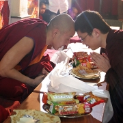 H.E. Tsem Tulku Rinpoche meeting the present incarnation of H.H. Zong Rinpoche in Gaden Shartse in 2006