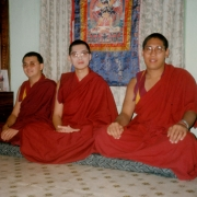 Kangyur Rinpoche (left) and Zachoeje Rinpoche (right) visiting Tsem Tulku Rinpoche in Tsem Rinpoche's ladrang in Gaden Shartse