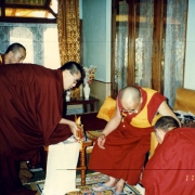 H.E. Tsem Tulku Rinpoche making prostration and offering a Vajrapani statue to H.H. the Dalai Lama. Tsem Rinpoche's guru Kensur Jampa Yeshe Rinpoche introducing Tsem Rinpoche as a rinpoche to H.H. the Dalai Lama and H.H. accepted