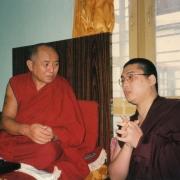 尊贵的詹杜固仁波切跟甘丹萨济寺前住持堪殊干竹泽令仁波切会晤