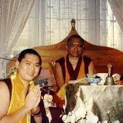 H.E. Tsem Tulku Rinpoche making offering to H.E. Lama Zopa Rinpoche