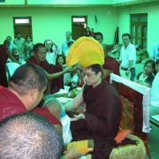 H.E. Tsem Tulku Rinpoche receiving offering in Gaden Monastery