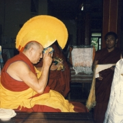 H.E. Tsem Tulku Rinpoche making offerings to the Abbot-Emeritus of Gaden Shartse, Kensur Konchok Tsering Rinpoche