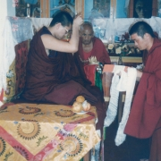H.E. Tsem Tulku Rinpoche receiving offering from monks of Sera Monastery