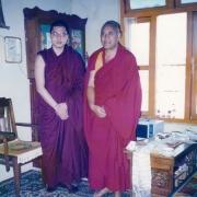 H.E. Tsem Tulku Rinpoche with the Gaden Jangtse's abbot Ken Rinpoche Lobsang Chojor