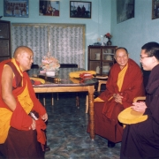 H.E. Tsem Tulku Rinpoche with Gaden Shartse's disciplinarian (left) and abbot Ken Rinpoche Konchok Tsering (center)