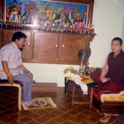 Official from the Tibetan government visiting H.E. Tsem Tulku Rinpoche in Tsem Rinpoche's ladrang in Gaden Monastery