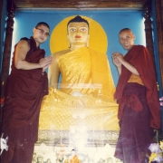 H.E. Tsem Tulku Rinpoche offering new robes to the holy Shakyamuni Buddha statue in Bodhgaya