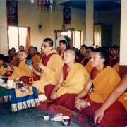 H.E. Tsem Tulku Rinpoche doing puja together with H.H. Zong Rinpoche in Gaden Pukhang Khangtsen