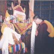 H.E. Tsem Tulku Rinpoche commissioned the statue of the 5th Dalai Lama to be made, and offered it to the Gaden Shartse, Gaden Jangtse, Gaden Lachi, Sera Lachi and Drepung Lachi