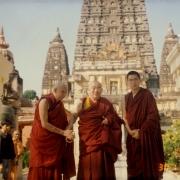 H.E. Tsem Tulku Rinpoche with his gurus H.E. Kensur Jampa Yeshe Rinpoche (left) and Kyabje Denma Locho Rinpoche (center) in Bodhgaya
