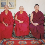 From left to right: the current Sharpa Choeje, Kensur Jampa Yeshe Rinpoche, Tsem Tulku Rinpoche