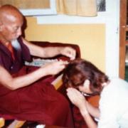 H.E. Tsem Tulku Rinpoche in Los Angeles pledging to take ordination to his guru Kyabje Zong Rinpoche