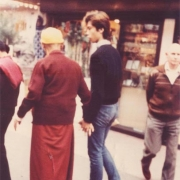 Intimate photo of Kyabje Zong Rinpoche bestowing great affection to H.E. Tsem Tulku Rinpoche in Los Angeles
