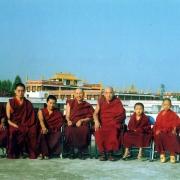 Reincarnated lamas of Gaden Pukhang Khangtsen, from left to right: Gyenpa Rinpoche, Tsem Tulku Rinpoche, Gyalkangtse Rinpoche Kensur Jampa Yeshe Rinpoche, Lati Rinpoche, Zong Rinpoche, Khentrul Rinpoche, Trinley Rinpoche