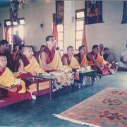 H.E. Tsem Tulku Rinpoche and H.H. Zong Rinpoche doing puja together in Gaden Pukhang Khangtsen