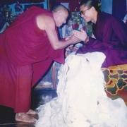 Abbot Emeritus of Gaden Shartse Kensur Konchok Tsering making offering to H.E. Tsem Tulku Rinpoche