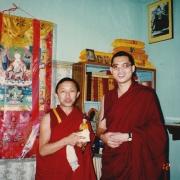 H.H. the 14th Dalai Lama's personal attendant Choyok Tashi visiting H.E. Tsem Tulku Rinpoche in Tsem Rinpoche's ladrang in Gaden Shartse