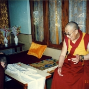 H.E. Tsem Tulku Rinpoche making prostration and offering a Vajrapani statue to H.H. the Dalai Lama. Tsem Rinpoche's guru Kensur Jampa Yeshe Rinpoche introducing Tsem Rinpoche as a rinpoche to H.H. the Dalai Lama and H.H. accepted