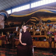 HE Tsem Tulku Rinpoche in front of the famous Reclining Buddha in Penang, Malaysia