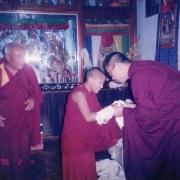 H.E. Kalden Rinpoche making offering to H.E. Tsem Rinpoche at Tsem Rinpoche's ladrang