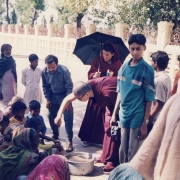 H.E. Tsem Tulku Rinpoche giving food to the poor and homeless in Bodhgaya, India