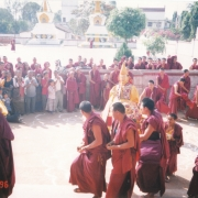 Abbot of Sera Je Monastery Geshe Jampa Tekchok (front) and H.E. Tsem Tulku Rinpoche (3rd from left) during the ceremony when Tsem Rinpoche offered the 5th Dalai Lama's statue to Sera Lachi